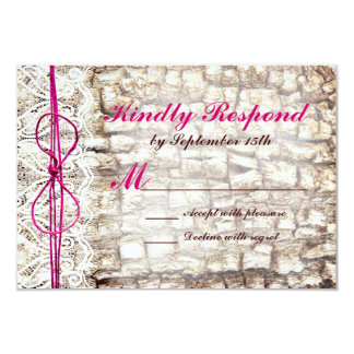 Rustic Country Camo Pink Bow Wedding RSVP Card