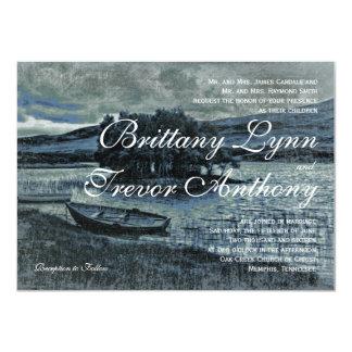 "Rustic Country Canoe Boat Lake Wedding Invitations 4.5"" X 6.25"" Invitation Card"
