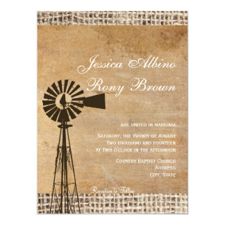 Rustic Country Canvas Burlap Windmill Card