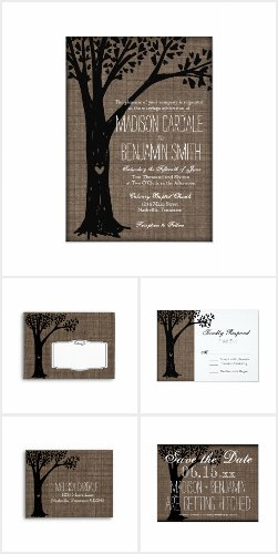 Rustic Country Carved Tree Wedding Invite Set