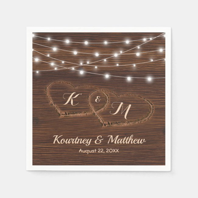 Rustic Country Carved Wood Heart Wedding Napkin