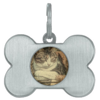 Rustic country cat lover farmhouse calico cat pet ID tag