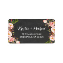 Rustic Country Chalkboard Beautiful Floral Label