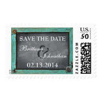 Rustic Country Chalkboard Save the Date Postage