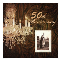 rustic country chandelier 50th wedding anniversary invitation