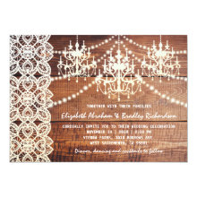 Rustic Country Chandelier Lace Wedding Invitations