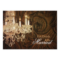 rustic country chandelier wedding Rehearsal Dinner Invitation