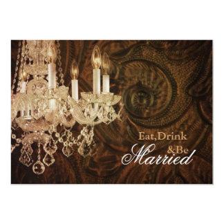rustic country chandelier wedding Rehearsal Dinner Invitation