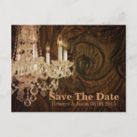 rustic country chandelier wedding save the date announcement postcard