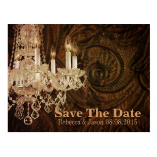 rustic country chandelier wedding save the date postcard