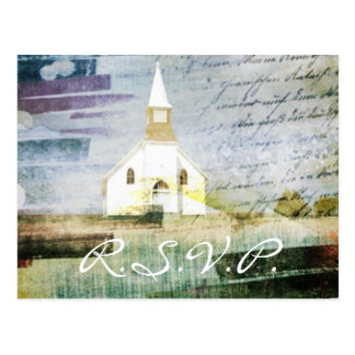 rustic country chapel wedding response RSVP Postcard