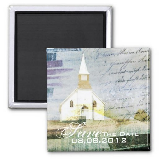 rustic country chapel wedding save the date 2 inch square magnet