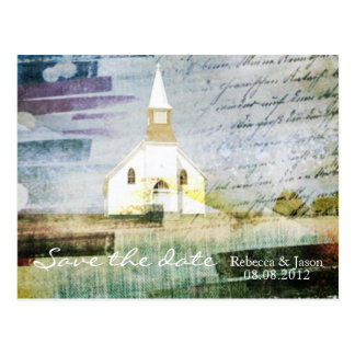 rustic country chapel wedding save the date postcard
