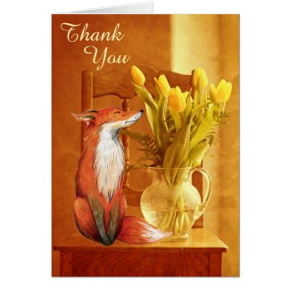 Rustic Country Charm Fox and Flowers Thank You Card
