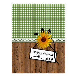 Rustic Country Charm Sunflower Moving Announcement Post Cards
