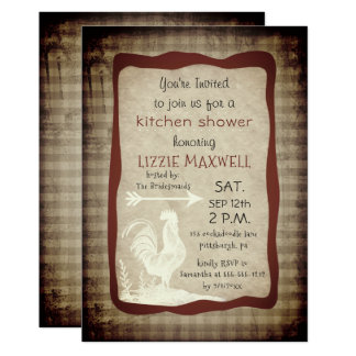 Rustic Country Check Rooster Kitchen Shower Card