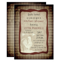 Rustic Country Check Rooster Kitchen Shower Invitation