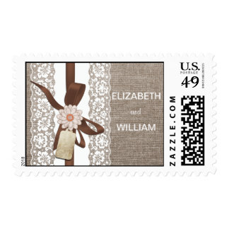 Rustic Country Chi Wedding Stamp