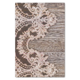 Rustic Country Chic Bohemian Wood and Lace Tissue Paper