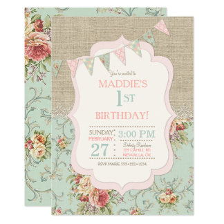 Rustic Country Chic Burlap Lace Shabby Floral Card