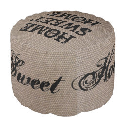 Rustic country chic burlap texture round pouf