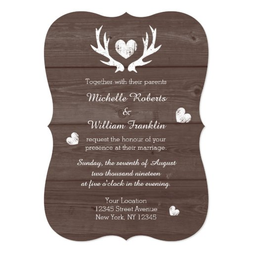 "Rustic country chic deer antler wedding invitation 5"" X 7"" Invitation Card"