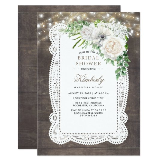 rustic country chic floral bridal shower invitation