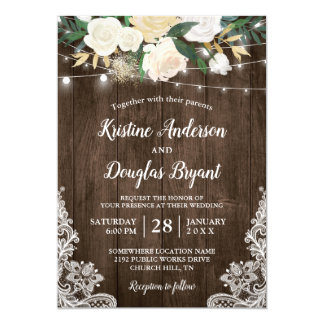 Rustic Country Chic Floral String Lights Wedding Card