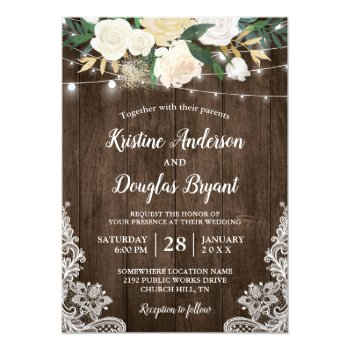 Rustic Country Chic Floral String Lights Wedding Card by CardHunter at Zazzle