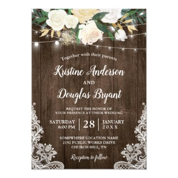 CardHunter Rustic Country Chic Floral String Lights Wedding Card