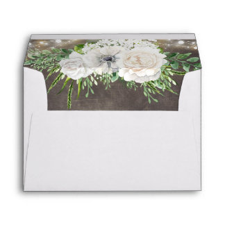 Rustic Country Chic Floral String Lights Wedding Envelope