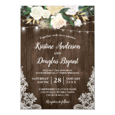 Rustic Country Chic Floral String Lights Wedding Invitation at Zazzle
