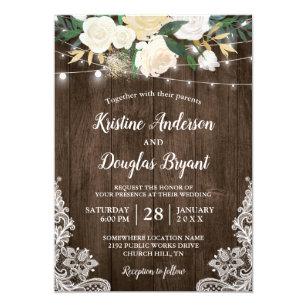 Rustic Country Chic Fl String Lights Wedding Invitation