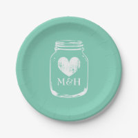 Rustic country chic mason jar paper party plates