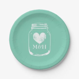 Rustic country chic mason jar paper party plates 7 inch paper plate