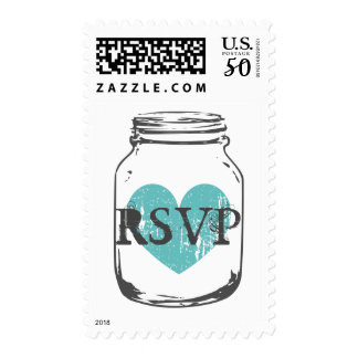 Rustic country chic mason jar RSVP wedding stamps