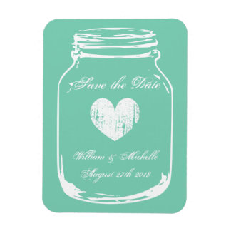 Rustic country chic mason jar Save the date magnet