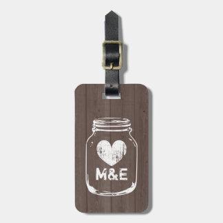 Rustic country chic mason jar travel luggage tag