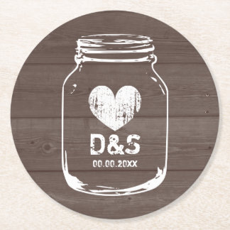 Rustic country chic mason jar wedding coasters