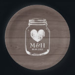 "Rustic country chic mason jar wedding party plates<br><div class=""desc"">Wood grain panel paper party plates with wedding monogram plus date of marriage. Brown and white. Customizable color and personalize name initial letters of bride and groom. Elegant typography in rustic country chic mason jar design. Cute romantic design with vintage heart icon. Faded weathered love symbol. Disposable plates for classy...</div>"