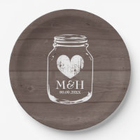 Rustic country chic mason jar wedding party plates
