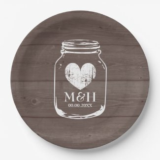 Rustic country chic mason jar wedding party plates  sc 1 st  Tropical Papers & Wedding Paper Plates | Tropical Papers