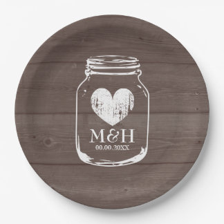 Rustic country chic mason jar wedding party plates 9 inch paper plate
