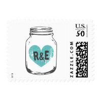 Rustic country chic mason jar wedding stamps