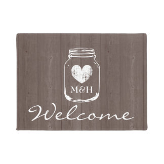 Rustic country chic mason jar wood grain door mat