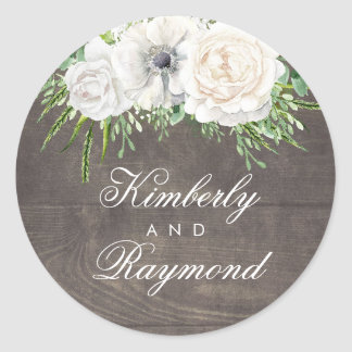 Rustic Country Chic | White Flowers Barn Wedding Classic Round Sticker
