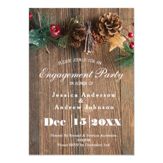 Rustic Country Christmas Engagement Party Invitation