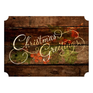 Rustic Country Christmas Greetings Holiday Card