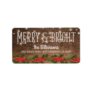 Rustic Country Christmas Holiday Label at Zazzle