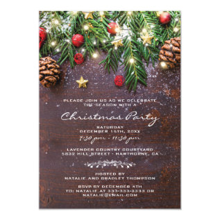 Rustic Country Christmas Holiday Party Card at Zazzle